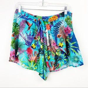 DESIGUAL NWT Tropical Hawaiian Tie Shorts Medium